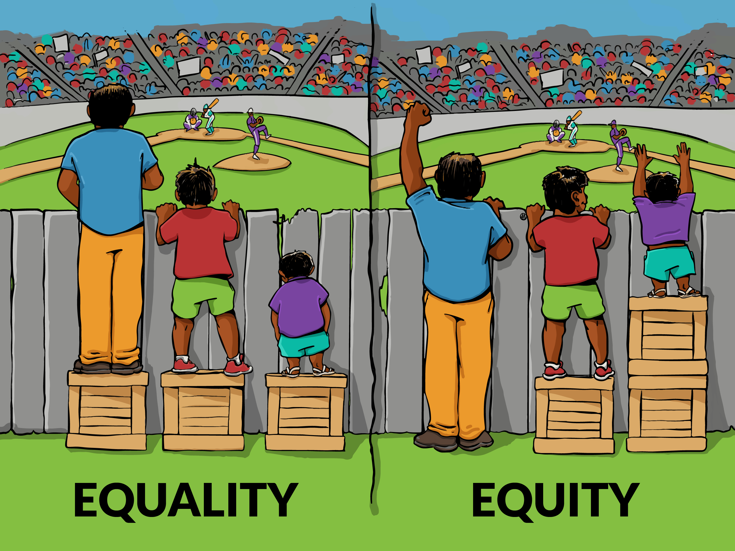 Equality is giving everyone a box, but equity is giving everyone exactly what they need to see the game. (Image credit: Interaction Institute for Social Change, illustrated by Angus Maguire