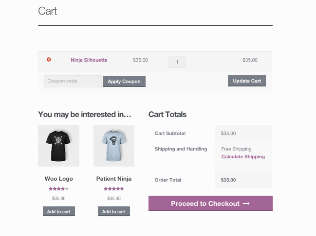An example of a cross-sell displaying to a shopper -- these two shirts are suggested based on what's in their cart.