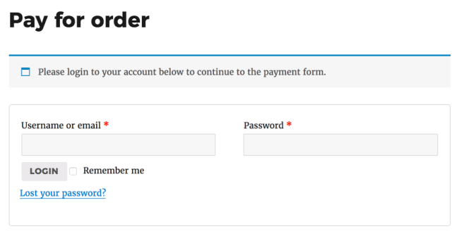 Customer payment page for logged out customers