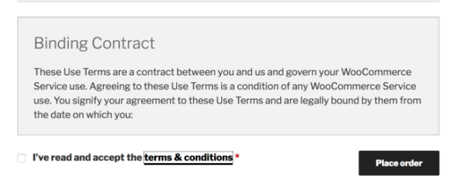 New terms and conditions feature in WooCommerce