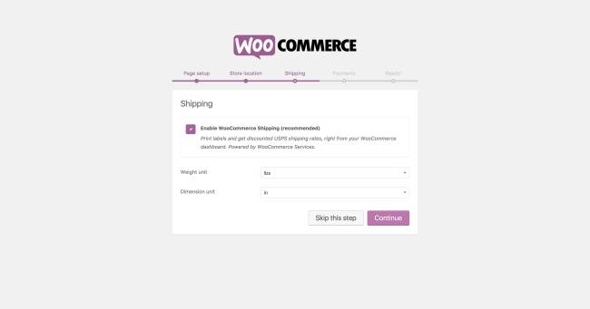 WooCommerce onboarding - shipping options