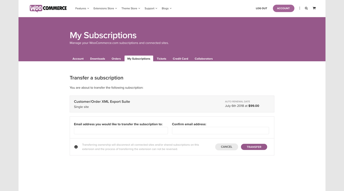 WooCommerce.com subscriptions transfers