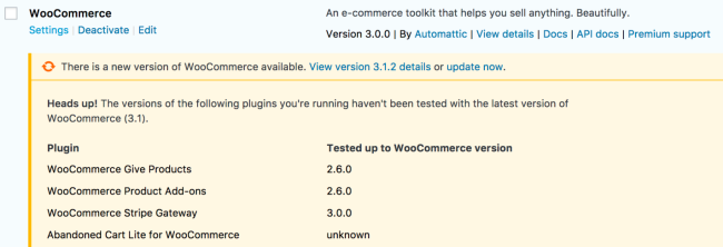 WooCommerce updates will warn you about outdated extensions