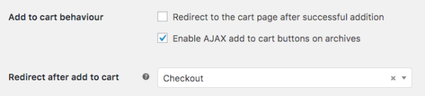 Add to Cart Redirect settings