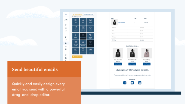 send beautiful emails with Jilt's drag and drop email editor