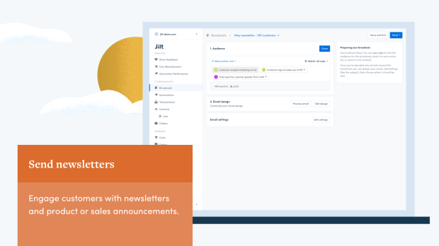 send newsletters with Jilt