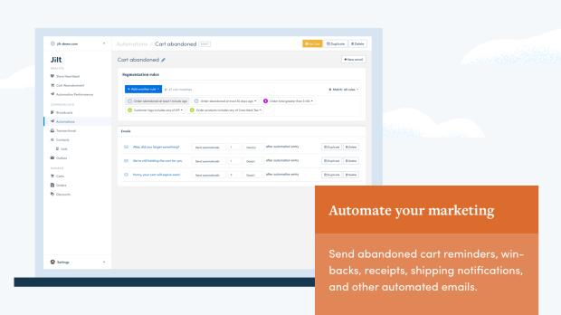 use Jilt's powerful segmentation to personalize your marketing
