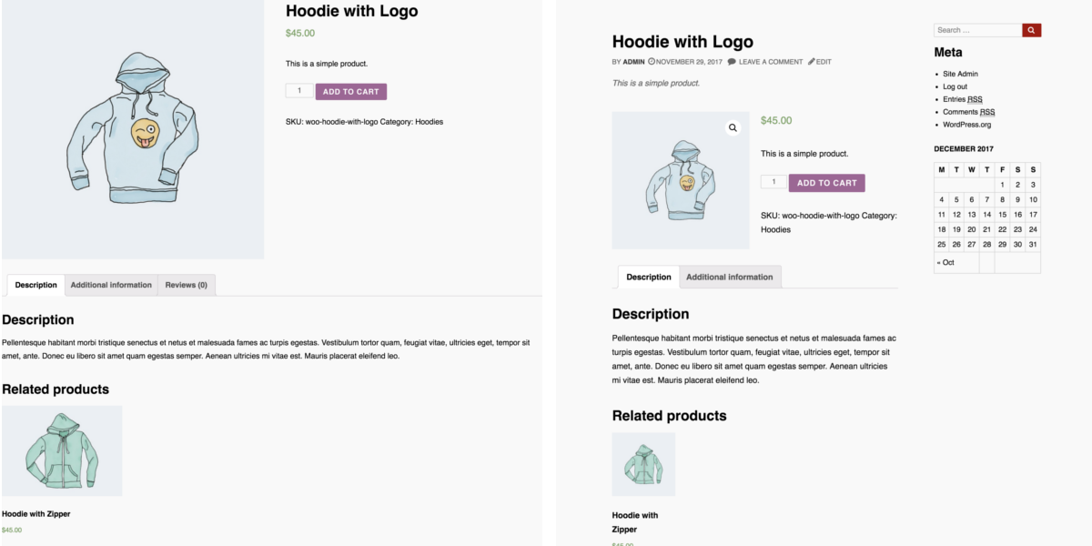 Comparison of WooCommerce store running Bassist theme and WC 3.2 (left) and WC 3.3 (right)