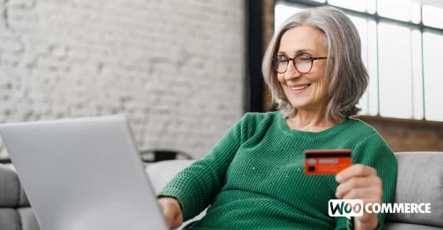 woman paying online with a credit card