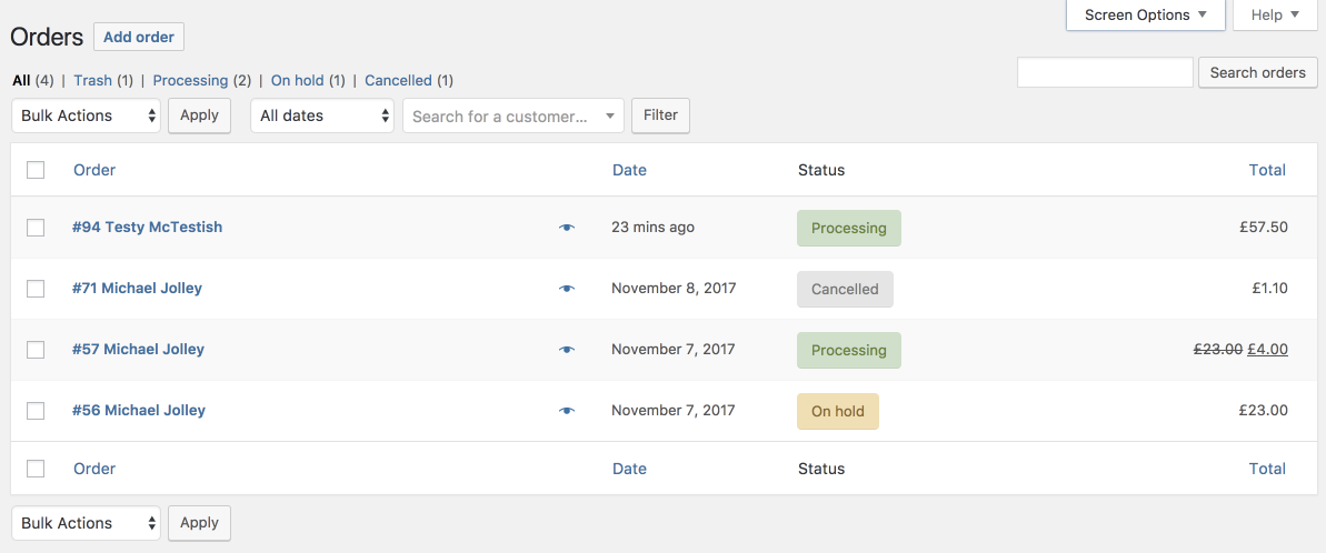 The revamped Orders screen in WooCommerce 3.3