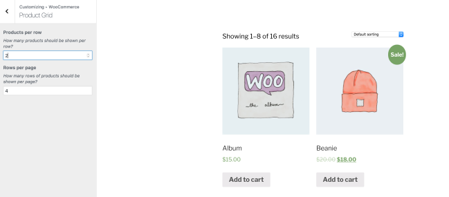 Set the number of shop columns and rows with a live preview in the Customizer