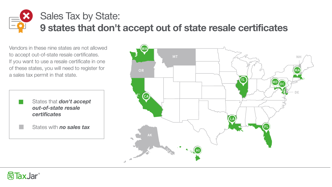 A map showing the 9 states that don't require a resale certificate
