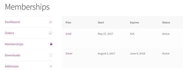 My Account Memberships Area Screenshot