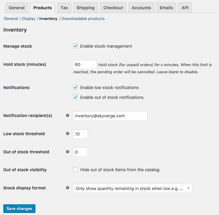 WooCommerce inventory settings