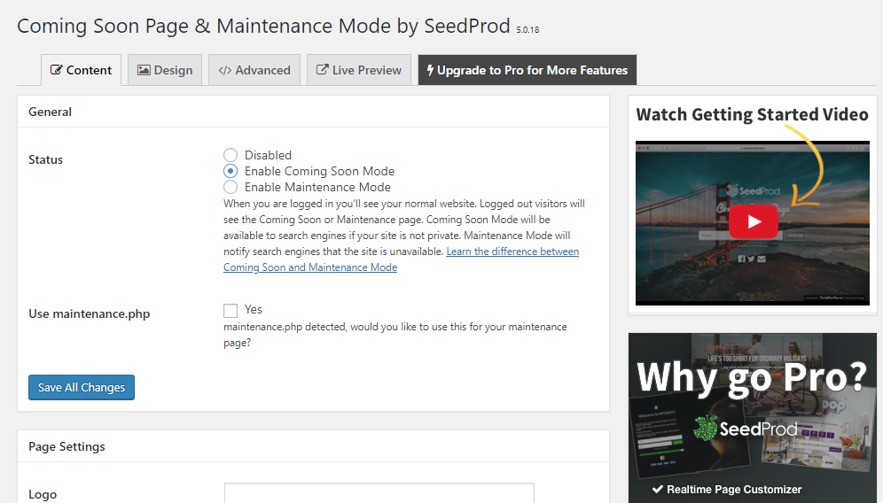 Once the plugin is installed and activated, visit Settings > Coming Soon & Maintenance Mode