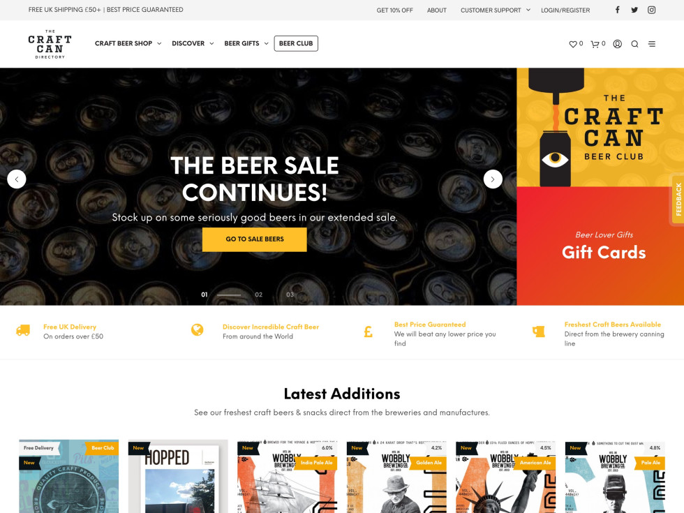 With a dizzying variety of specialty beers and special-occasion gift sets available, the Craft Can Directory truly taps into the capabilities of online commerce