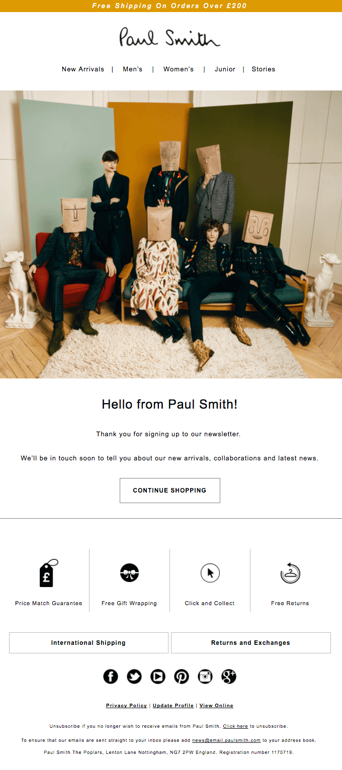 Paul Smith Welcome email.