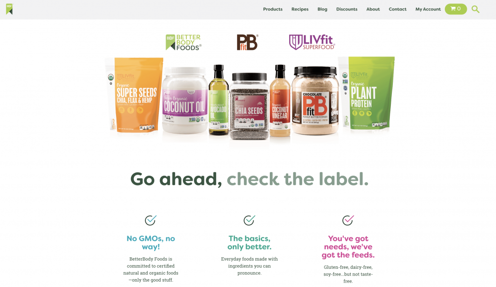 BetterBody connects its customers to the benefits of products made with agave, coconut oil, peanut butter powder, and other foods.