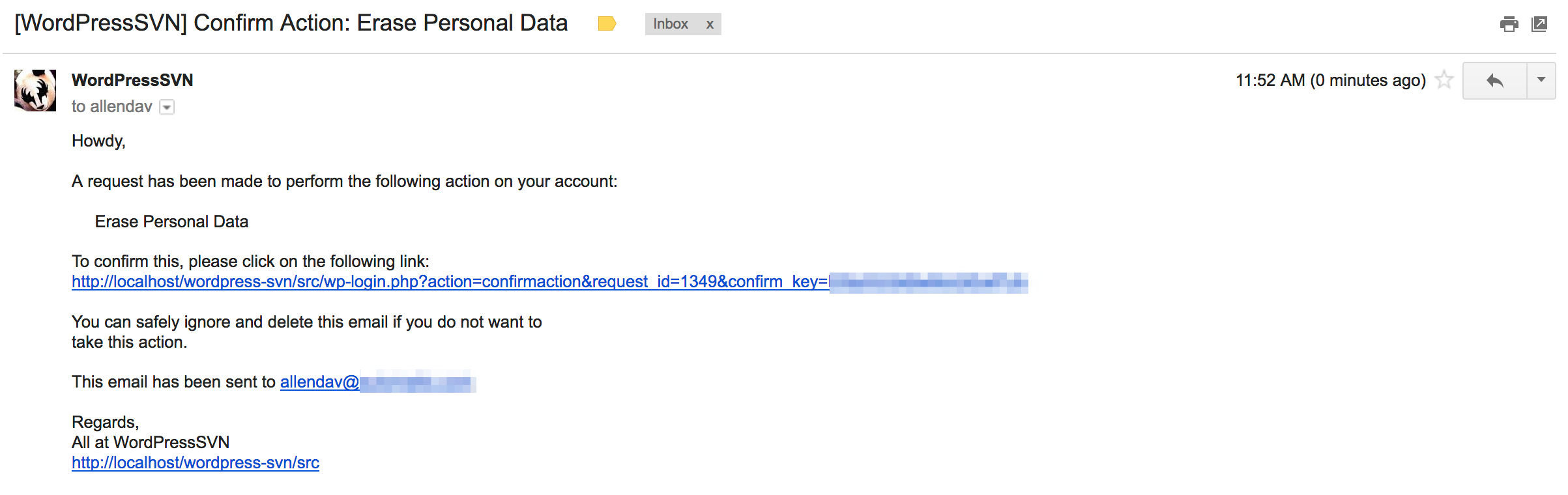 Example of the email a user receives when you send a request to confirm identity in response to a Right to Erasure request