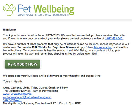 A re-order suggestion email for pet food.