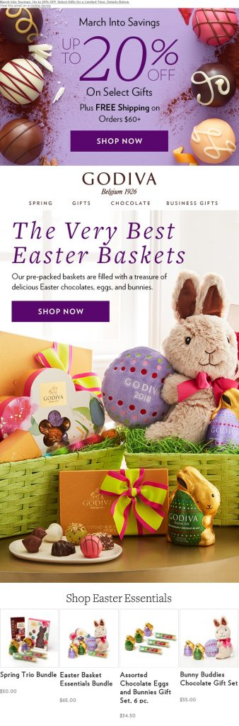 Godiva's Easter special email has a holiday-theme with customized holiday specific offers.