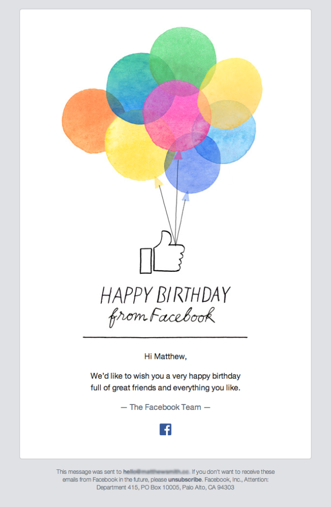 Happy birthday from Facebook!