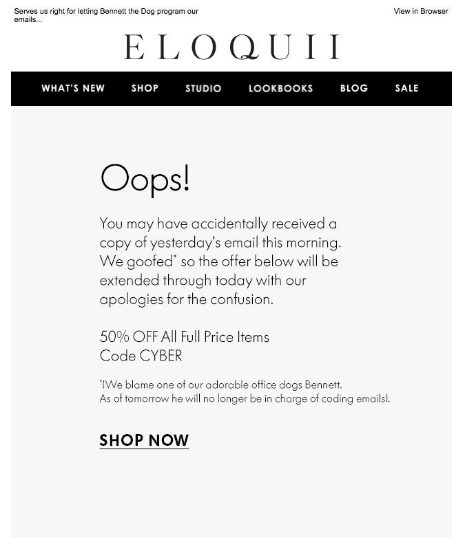 An apology email from Eloquii