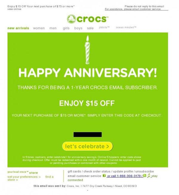 Celebrating a milestone: Crocs wish a customer well on the anniversary of joining their mailing list.