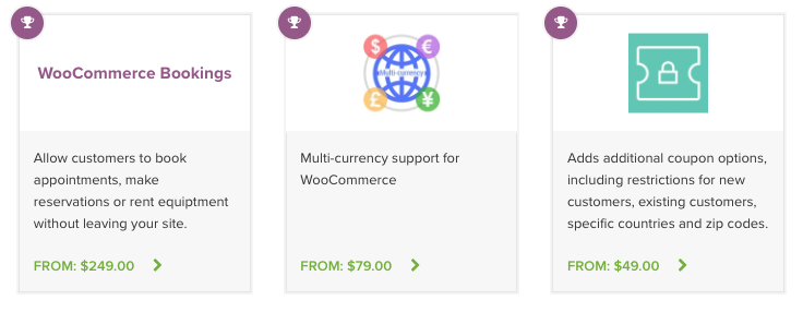 Examples of three popular extensions from the WooCommerce.com marketplace
