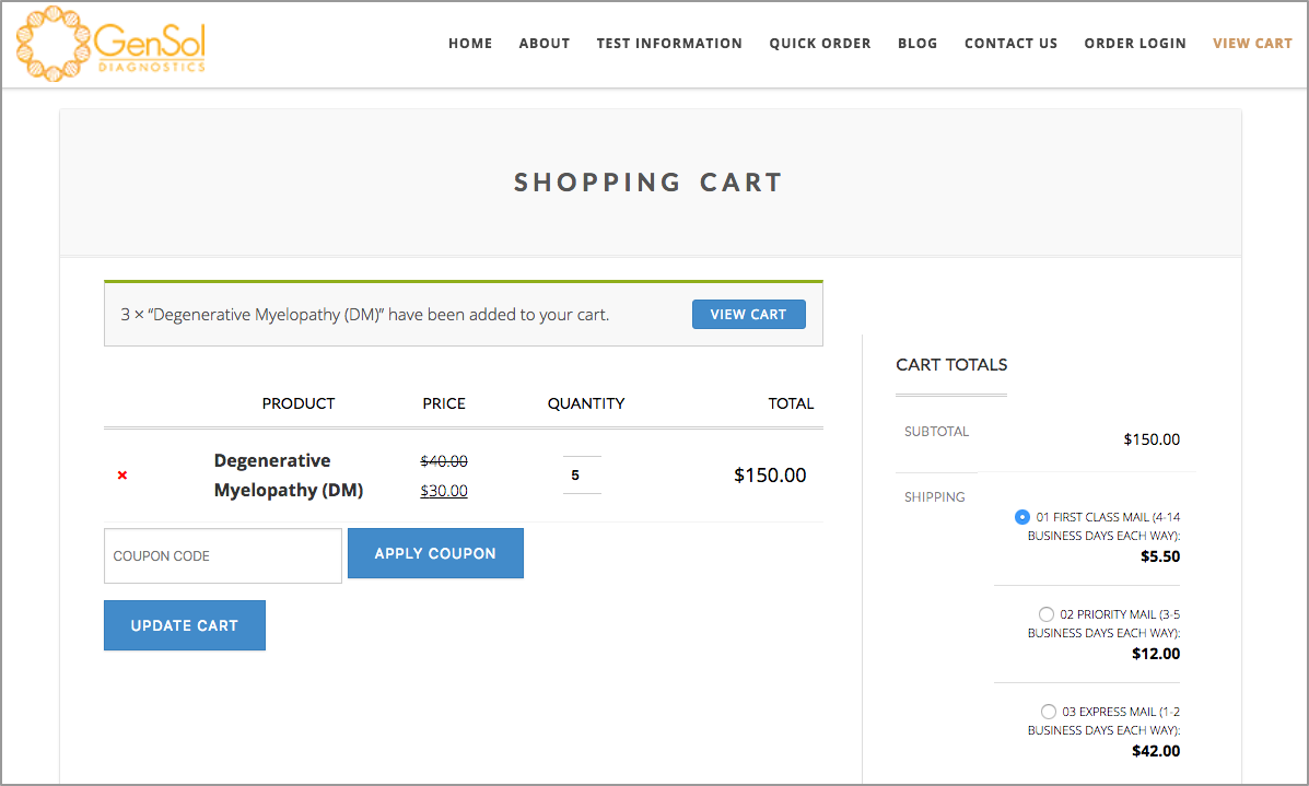The shopping cart for GenSol Diagnostics