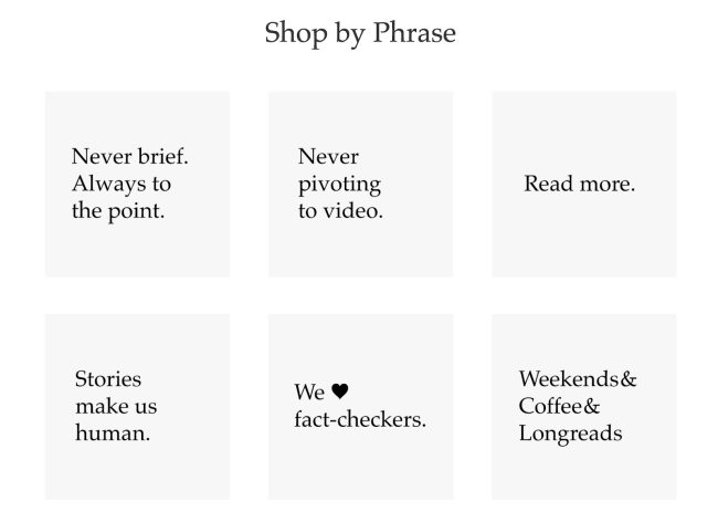 Shop by phrase - a neat feature of the Longreads store