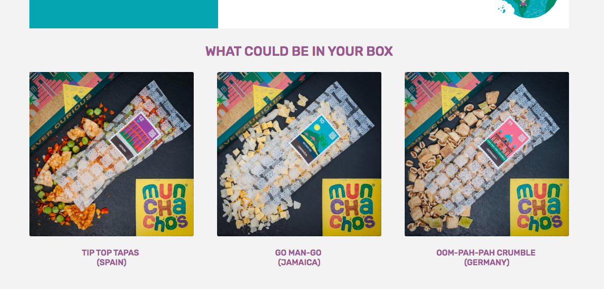 Munchachos highlights three related snacks on each product page