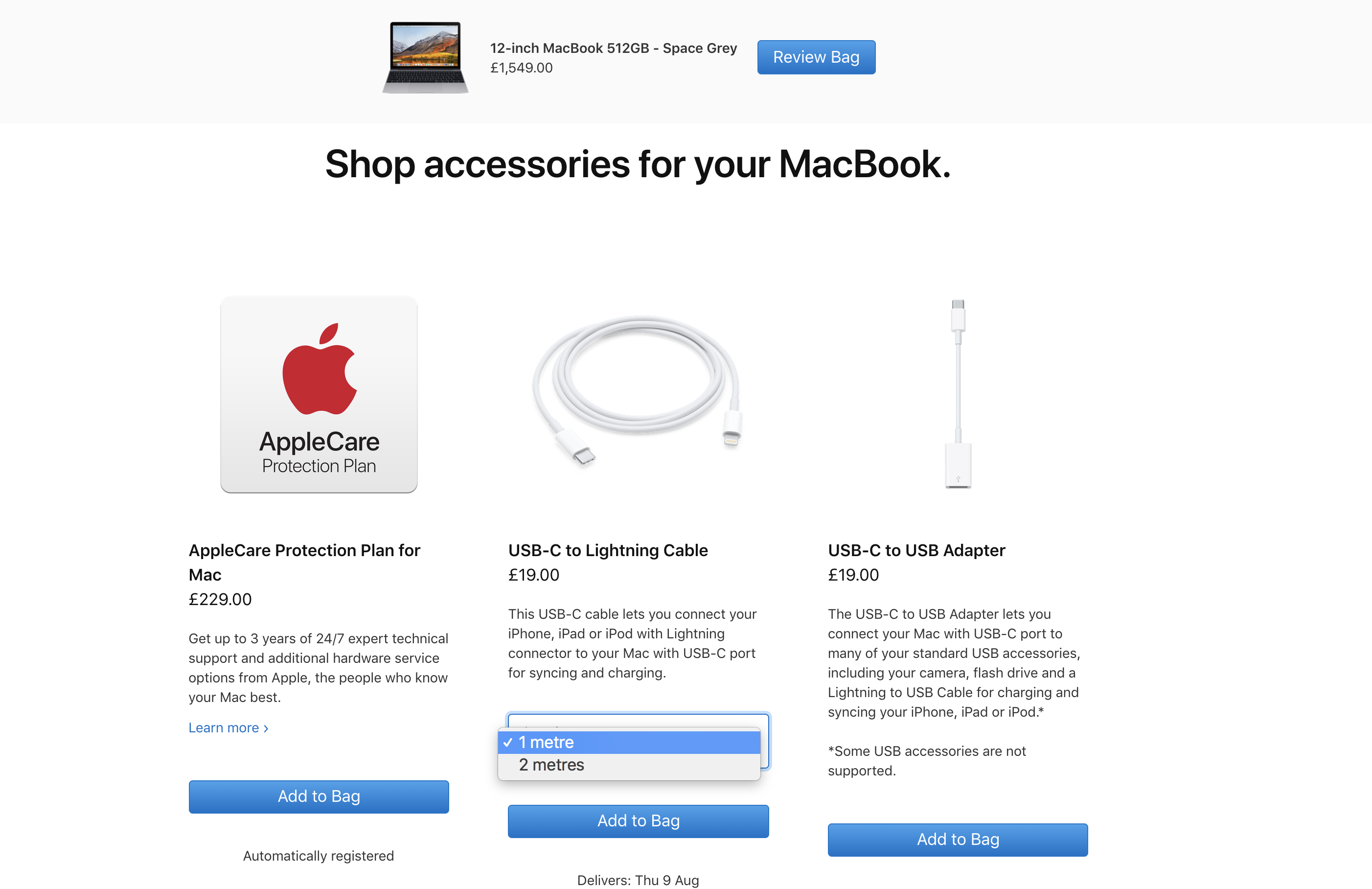 Apple make extensive use of cross-sells. In this example you can see accessory and service cross-selling – plus a cheeky upsell for a longer Lightning Cable!