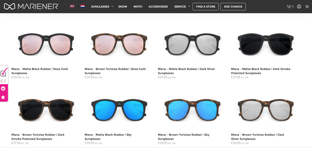 An example of the wide range of sunglass models and styles Mariener have available