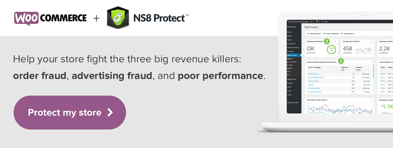 Fight the three big revenue killers with NS8 Protect for WooCommerce