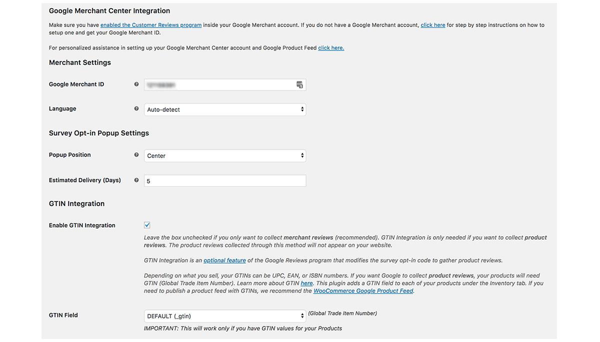 Google Merchant Center Customer Reviews extension
