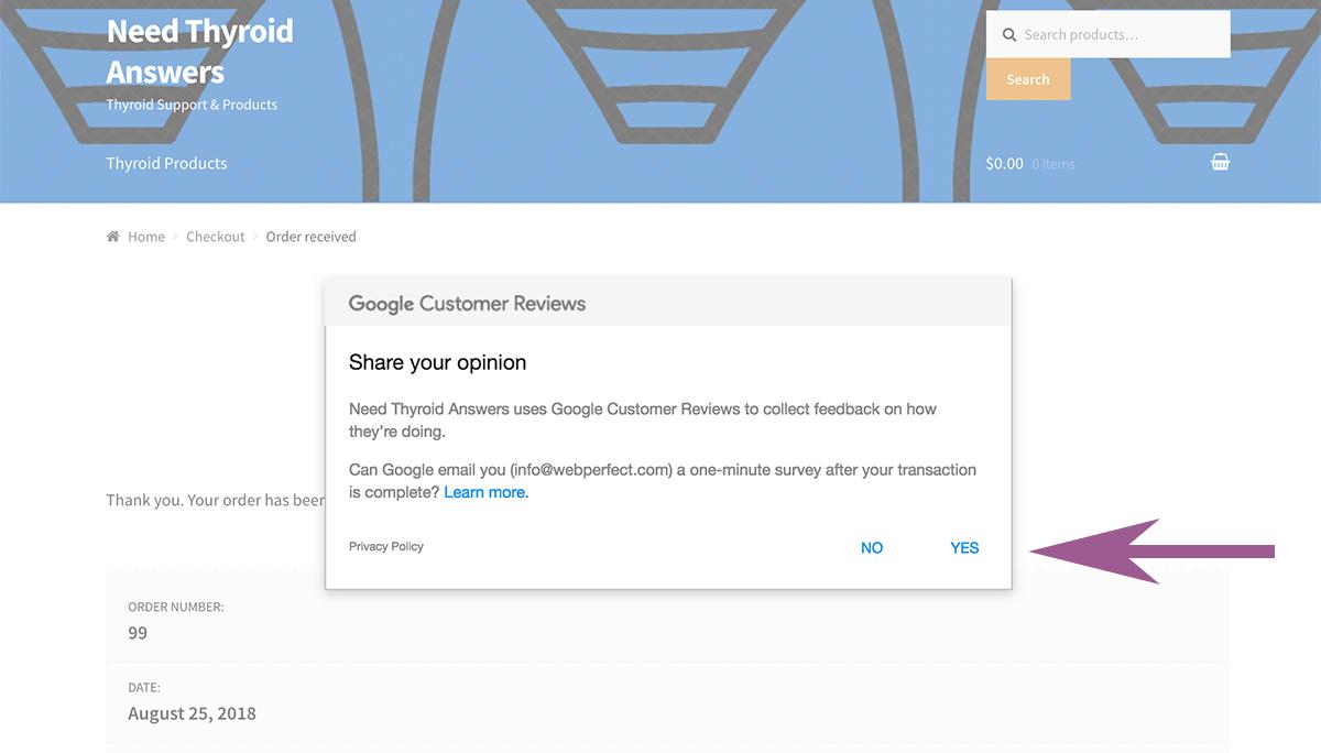 Google Customer Reviews Optin Window