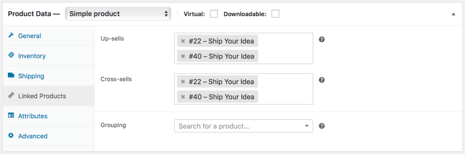 Go to WooCommerce > Products and select the product on which you'd like to show an up-sell or cross-sell.