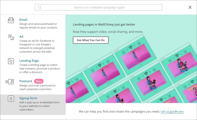 The campaign creation screen in MailChimp