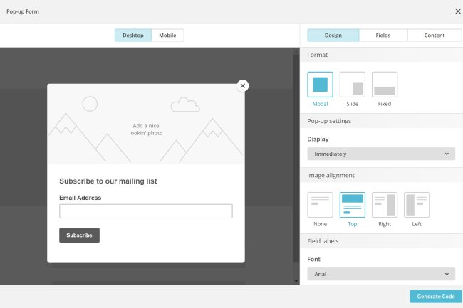 Customize your pop-up with the MailChimp pop-up creation tool