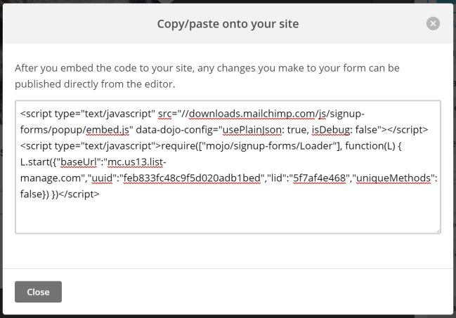 You can embed your sign-up form by copying and pasting the code to your site