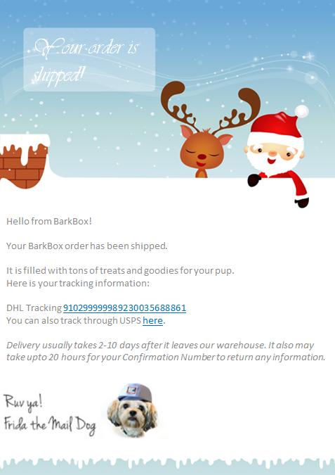 An example of a holiday email from BarkBox