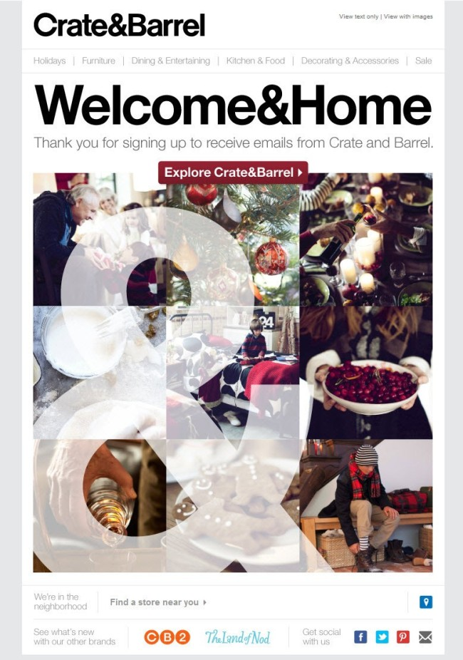 An example of an email from Crate&Barrel