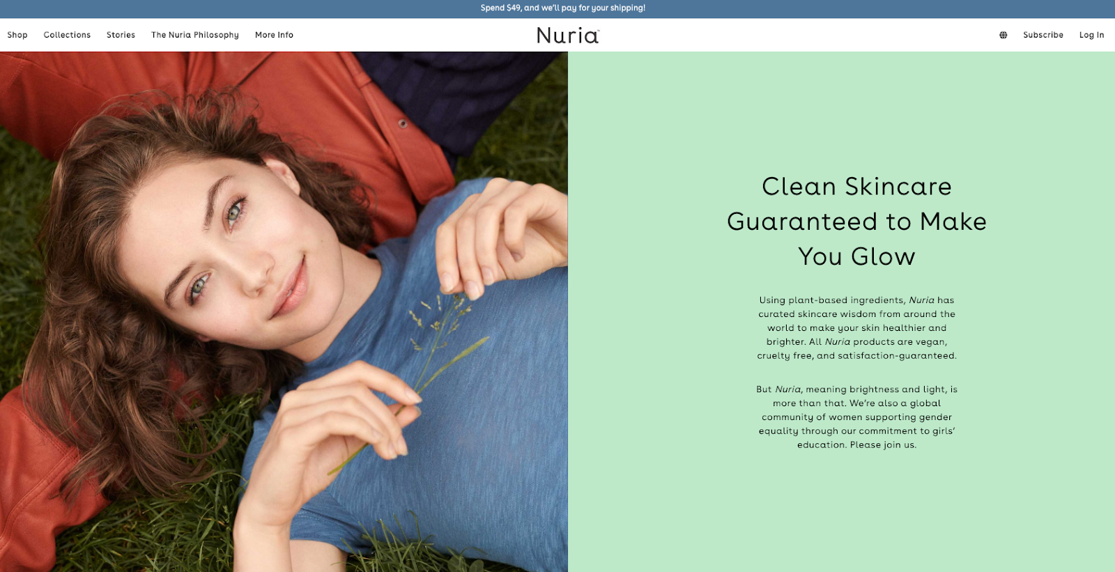 Homepage Above the Fold Nuria Beauty