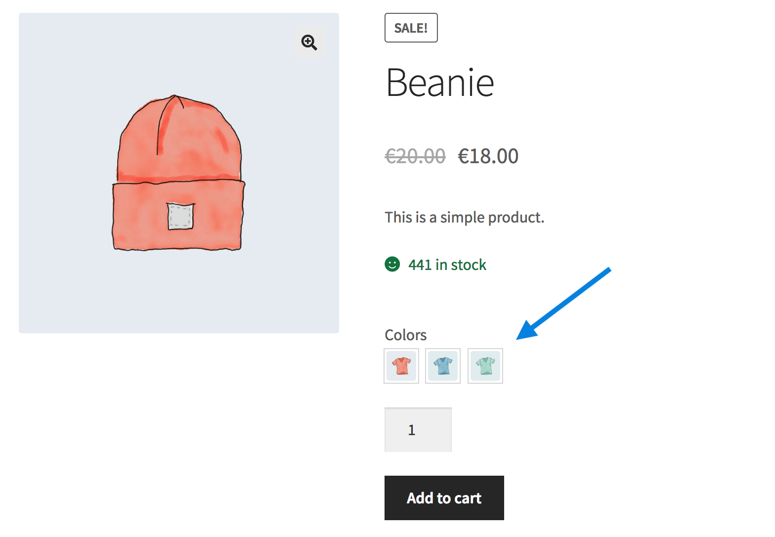 screenshot showing an image based selection of a product using the WooCommerce product add-ons