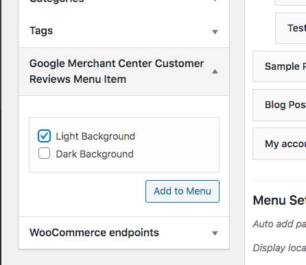 add google merchant center badge via menu