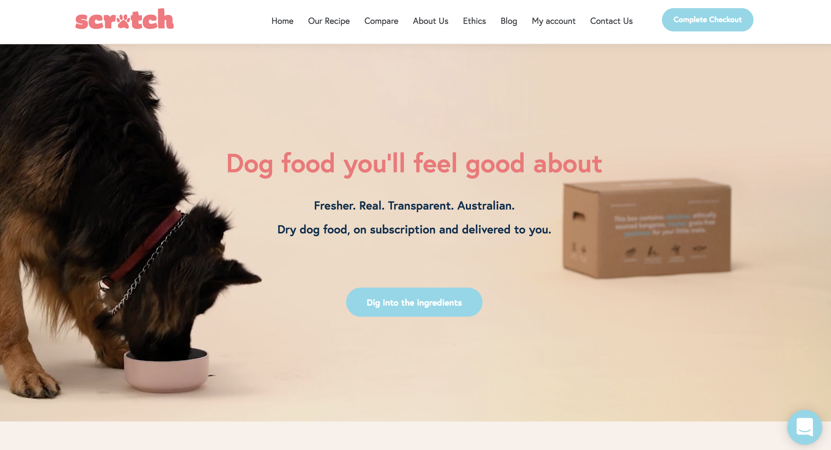 Scratch Pet Food's home page