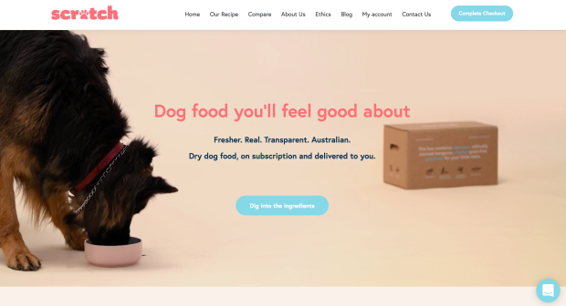Scratch Pet Food home page