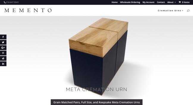 The homepage of mementomemorials.com