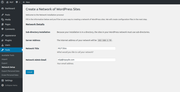 Creating a network of WordPress sites in WP Admin